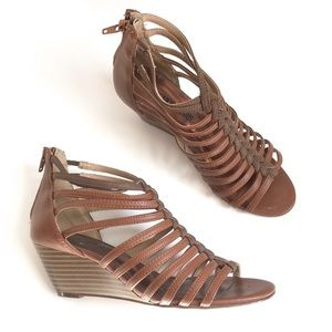 Cosmopolitan Strappy Tan Wedge Sandals